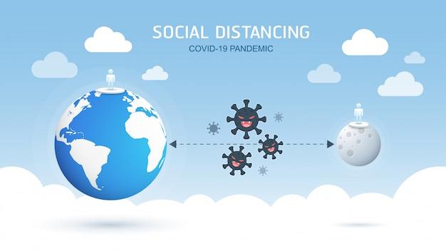 Soziale distanzierung, abstand zu menschen in der öffentlichen gesellschaft halten, um sich vor der covid-19-coronavirus-pandemie zu schützen, die das konzept verbreitet. illustration.