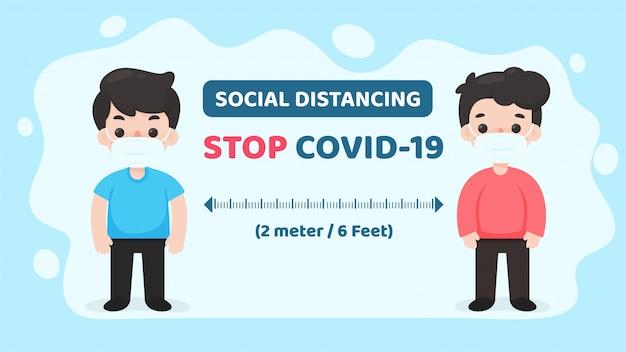 Soziale distanzierung. abstand zwischen ihnen und anderen, um eine infektion mit dem koronavirus zu verhindern.