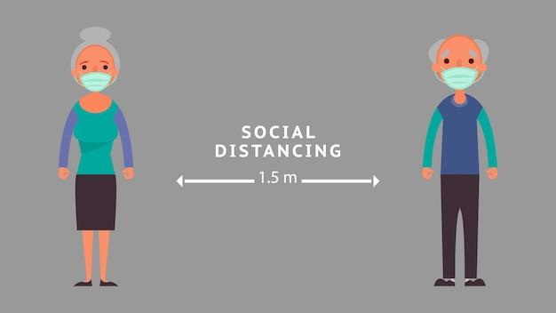 Soziale distanzierung älterer menschen abstand halten reduzieren sie die krisensituation bei risikoinfektionen und krankheitskonzepten, die wir alle aufgrund des coronavirus coronavirus 2019-ncov auf der ganzen welt erleben.
