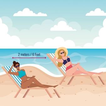 Soziale distanzierung am strand, frauen halten abstand am stuhlstrand, neues normales sommerstrandkonzept nach coronavirus oder covid 19