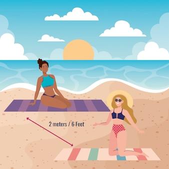 Soziale distanzierung am strand, frauen halten abstand zwei meter oder sechs fuß, neues normales sommerstrandkonzept nach coronavirus oder covid 19