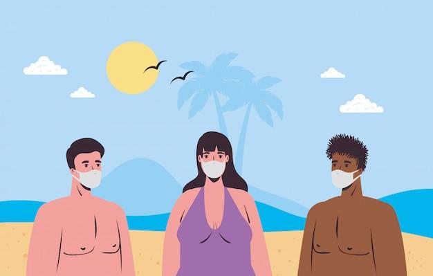 Soziale distanzierung am strand, menschen mit medizinischer maske halten abstand am strand, neues normales sommerstrandkonzept nach coronavirus oder covid 19