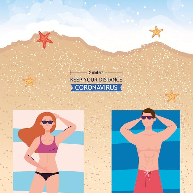 Soziale distanzierung am strand, paar halten abstand zum bräunen, neues normales sommerstrandkonzept nach coronavirus oder covid 19