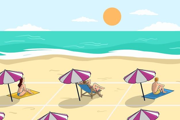 Soziale distanzierung am strand