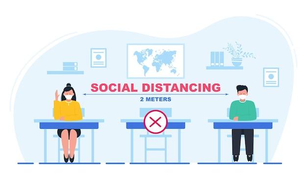 Soziale distanzierung an schulen schüler mit masken