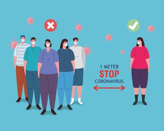 Soziale distanzierung auf falsche und korrekte weise, menschen, die sicheren abstand halten, prävention coronavirus covid-19