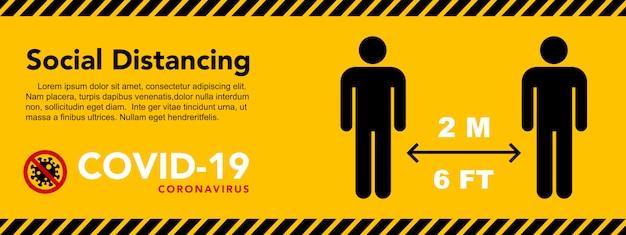 Soziale distanzierung banner. halten sie den abstand von 2 metern ein. coronovirus-epidemie-schutz.