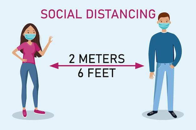 Soziale distanzierung. bleib auf abstand. mann und frau halten abstand.