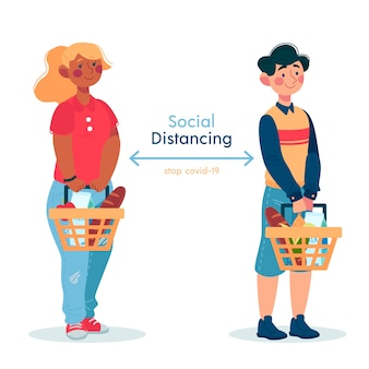 Soziale distanzierung covid19 konzept