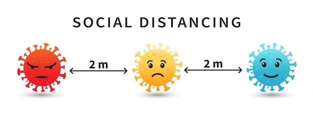 Soziale distanzierung. emoji coronavirus. halten sie den abstand von 2 metern ein.