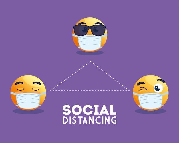 Soziale distanzierung emoji tragen medizinische maske, gelbe gesichter in der öffentlichen sozialen distanzierung für covid 19 prävention vektor-illustration design
