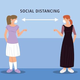 Soziale distanzierung, frauen grüßen mit distanz, während coronavirus covid 19