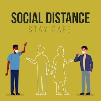 Soziale distanzierung für die präventionskampagne covid19 mit männern, die medizinische masken tragen