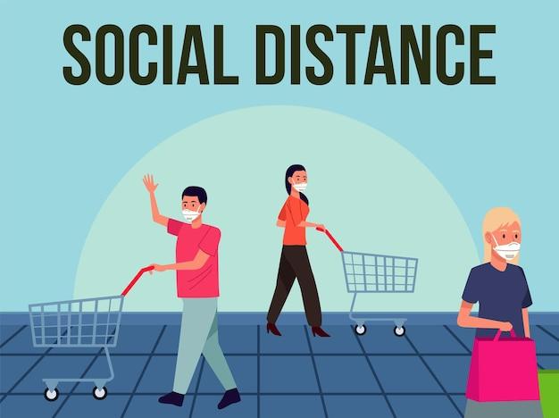 Soziale distanzierung für die präventionskampagne covid19 mit menschen, die im supermarkt mediale masken tragen