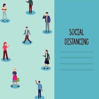 Soziale distanzierung für die präventionskampagne covid19 mit menschen, die medizinische masken tragen