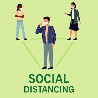 Soziale distanzierung für die präventionskampagne covid19 mit personen, die medizinische masken tragen