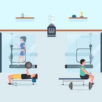 Soziale distanzierung für menschen im fitnessstudio