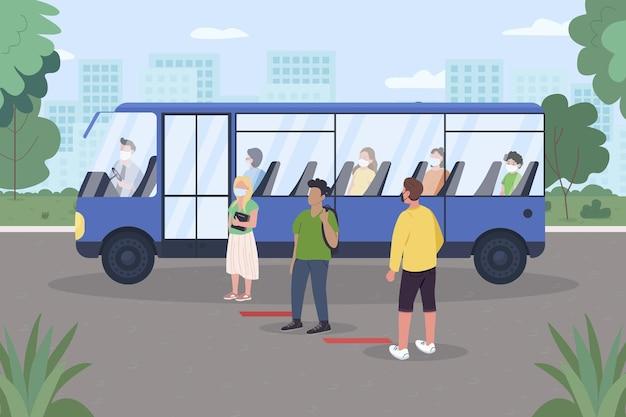 Soziale distanzierung für öffentliche verkehrsmittel flach. covid pandemie.