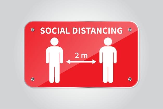 Soziale distanzierung halten sie den 12-meter-abstand ein coronovirus-epidemie schützend