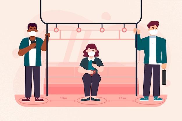 Soziale distanzierung im konzept des öffentlichen verkehrs