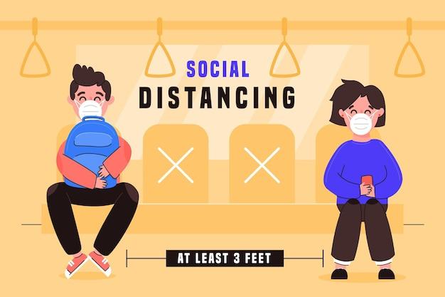 Soziale distanzierung im öffentlichen verkehr zur prävention