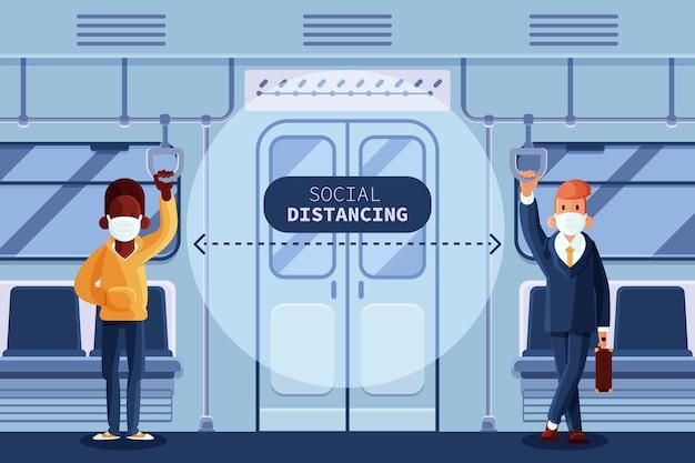 Soziale distanzierung im öffentlichen verkehr