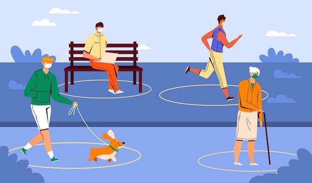 Soziale distanzierung im park