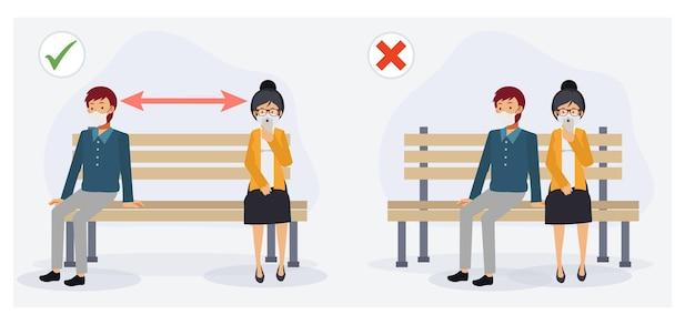 Soziale distanzierung in der öffentlichen konzeptillustration