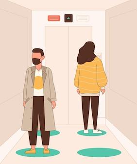 Soziale distanzierung in einem aufzug dargestellt