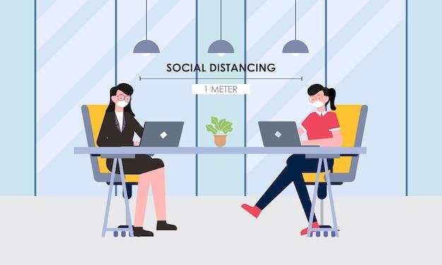 Soziale distanzierung in einem besprechungsdesign kostenlose vektorillustration