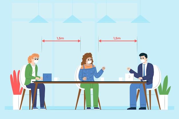 Soziale distanzierung in einem meeting