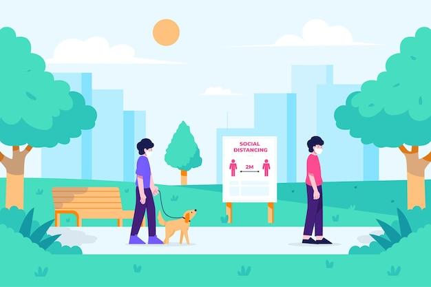 Soziale distanzierung in einem park