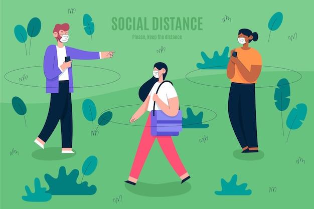 Soziale distanzierung in einem parkkonzept