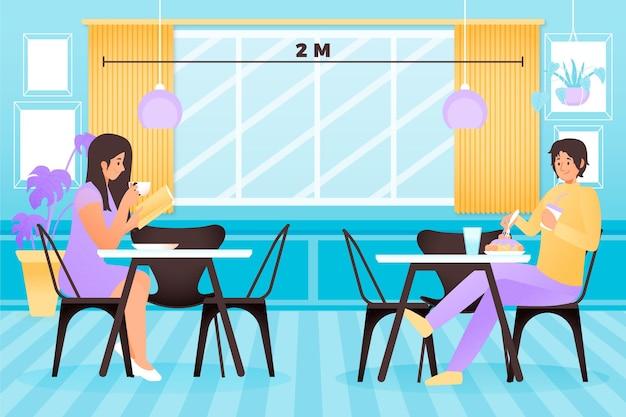 Soziale distanzierung in einem restaurant