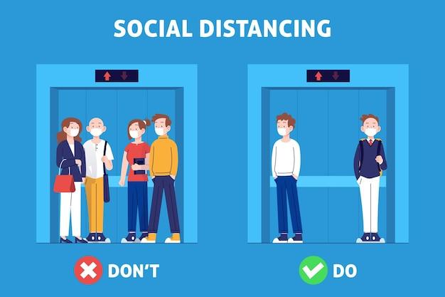 Soziale distanzierung in einer aufzugsillustration