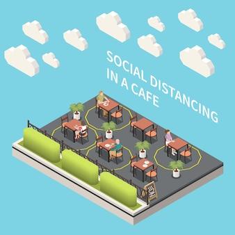 Soziale distanzierung in einer isometrischen illustration eines cafés