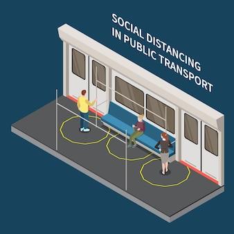 Soziale distanzierung in isometrischer darstellung des öffentlichen verkehrs