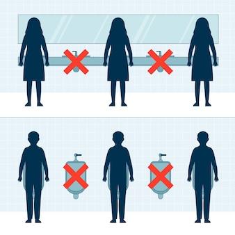 Soziale distanzierung in öffentlichen toiletten