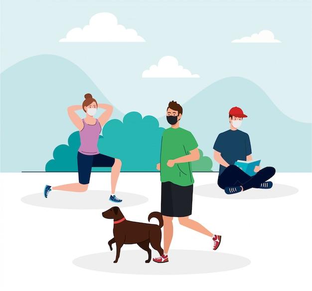 Soziale distanzierung, junge menschen, die eine medizinische maske tragen, sport treiben und aktivitäten im freien ausführen, prävention von coronavirus covid 19