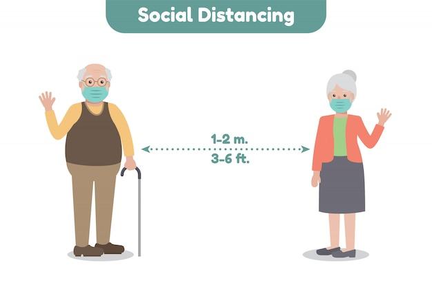 Soziale distanzierung. krankheitsbewusstsein.