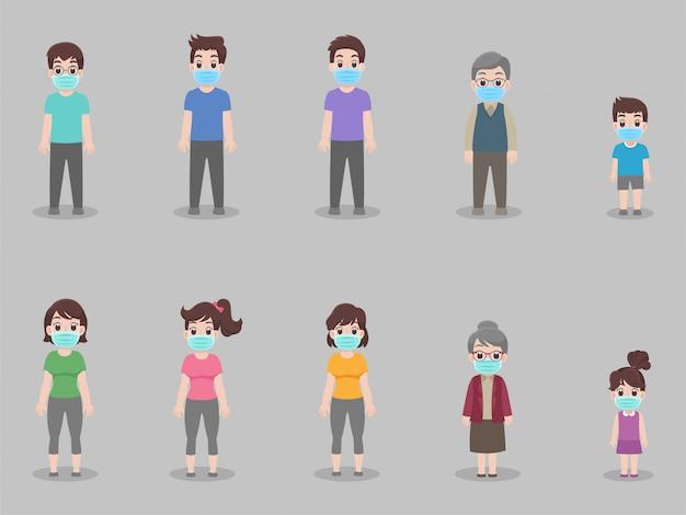 Soziale distanzierung, menschen, die abstand halten für infektionsrisiko und krankheit