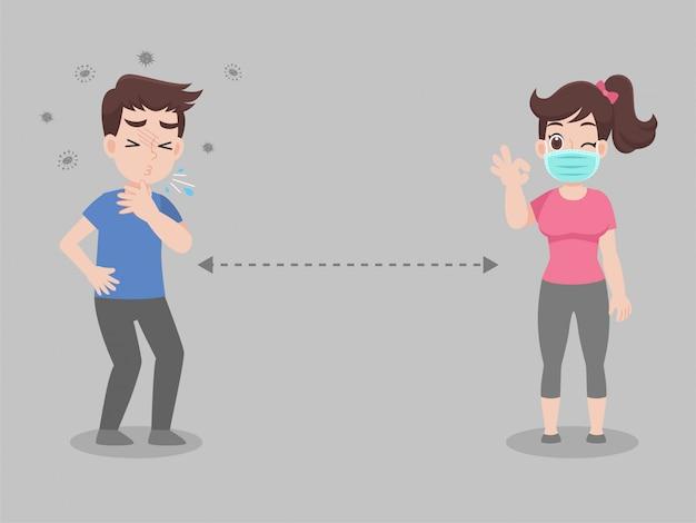 Soziale distanzierung, menschen, die abstand zu infektionsrisiken und krankheiten halten und eine medizinische schutzmaske tragen, um viren vorzubeugen