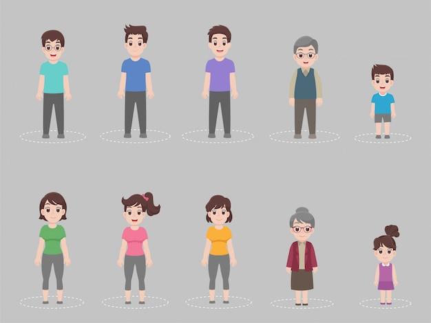 Soziale distanzierung, menschen, die abstand zum infektionsrisiko halten, und krankheiten, um viren vorzubeugen