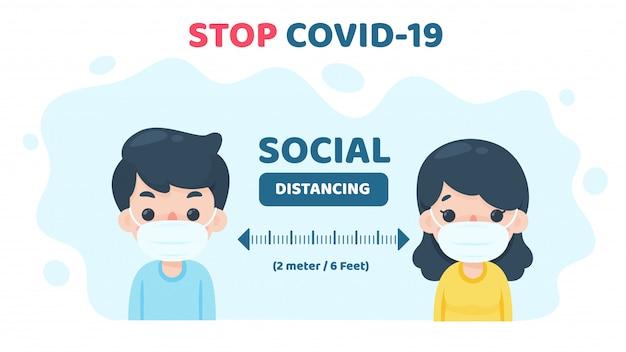 Soziale distanzierung. menschen, die medizinische masken tragen, gehen in die öffentlichkeit und voneinander weg, um das risiko einer coronavirus-infektion zu verringern.
