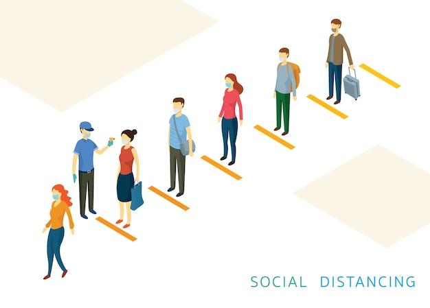 Soziale distanzierung, menschen in einer reihe oder linie prävention von coronavirus