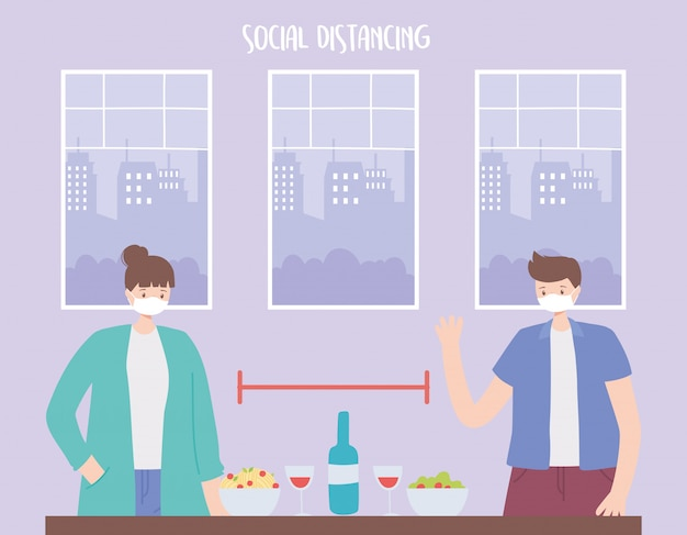 Soziale distanzierung, menschen mit essen und trinken halten einen sicheren abstand, coronavirus