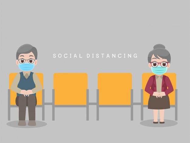 Soziale distanzierung, menschen sitzen auf einem stuhl und halten abstand für infektionsrisiko und krankheit