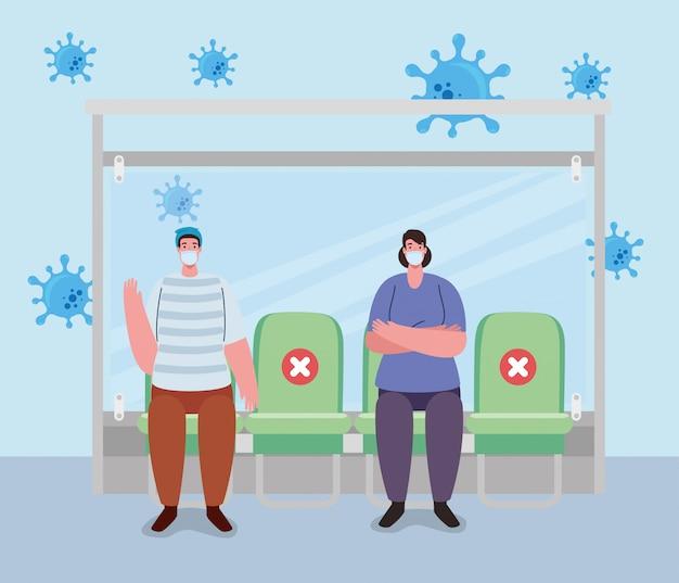 Soziale distanzierung mit menschen im busbahnhof, bushaltestelle für wartende passagiere, stadtgemeinschaftsverkehr mit verschiedenen pendlern zusammen, prävention coronavirus covid-19