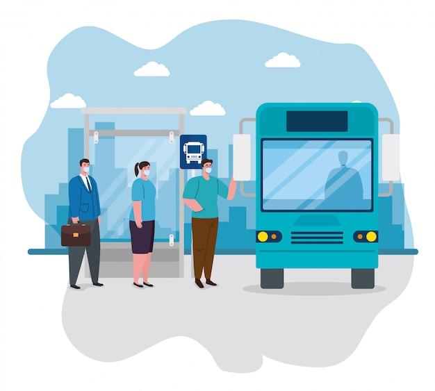 Soziale distanzierung mit menschen im busbahnhof, wartende bushaltestelle für passagiere, stadtverkehr mit verschiedenen pendlern zusammen, prävention coronavirus covid 19