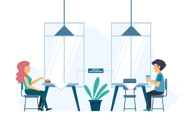 Soziale distanzierung mit menschen in einem restaurant